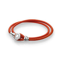 Moments Double Leather Bracelet, Spicy Orange