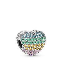 Multi-colour Pavé Open My Heart Charm
