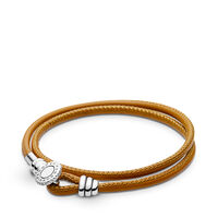 Moments Double Leder Armband, Golden Tan